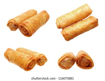 four different angle of views of two fried egg rolls on white