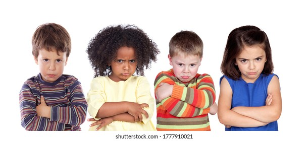 Four different angry children isolated on a white background