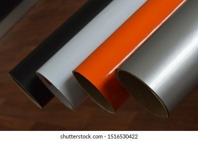 Four different color vinyl rolls