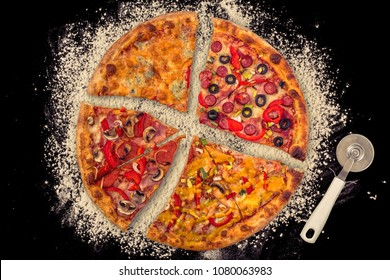four different pieces of pizza in one with cutter knife