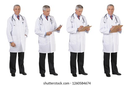 Four different poses of a mature Doctor wearing a lab coat over white.