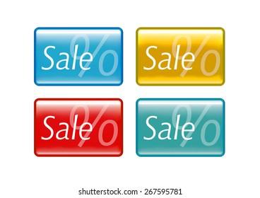Four different rectangular sale buttons