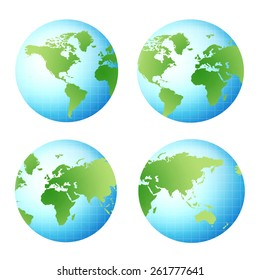 four different view of a 3d world globe