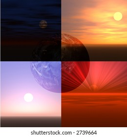 Four different views of Earth, the sun or moon.