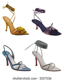 Four different women sandal isolated on white