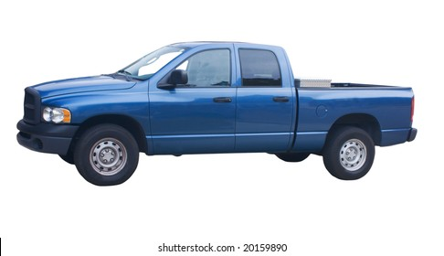 four door blue pickup truck with diamond plate toolbox on white