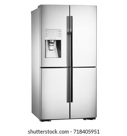 Four Door Refrigerator Isolated on White Background. Domestic Appliances. Side View of Stainless Steel American-Style Side-by-Side Fridge Freezer. Electric and Kitchen Appliances