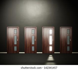 four doors in the dark room