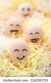 Four eggs with micro expressions
