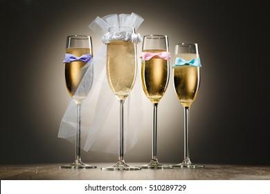 Four elegant stylish champagne glasses. Bachelorette party concept