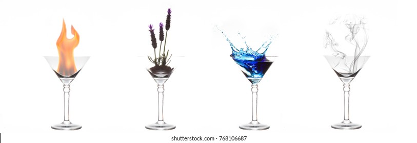 Four elements of fire, plant, water and air in four martini glasses