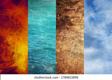 Four Elements of Nature, collage of abstract backgrounds from Fire, Water, Earth, and Air, ecology concept