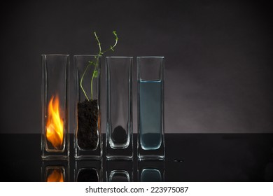 The four elements still-life. Fire, Earth, Air and Water arranged in glass vases