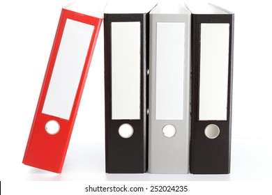 four empty file folders on white background