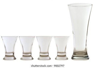 four empty shots and one empty beer glass