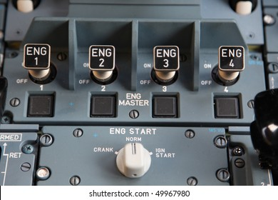 four engine start controls in the cockpit