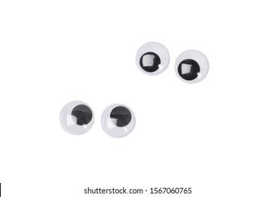 Four eyes of googly eyes sticker - isolated white background
