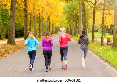 Four female friends running together in autumn along a road through a colorful fall park viewed from behind in a healthy lifestyle and fitness concept