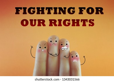 Four fingers decorated as four person. They are angry and dissatisfied about human rights.