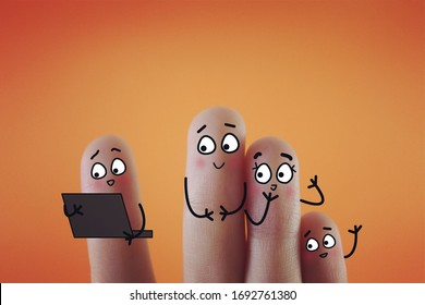 Four fingers are decorated as four person. They are discussing about their investment plan happily.