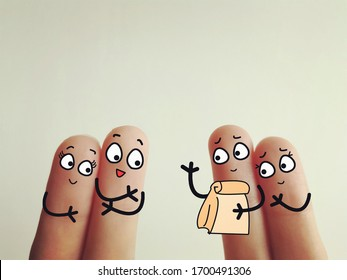 Four fingers are decorated as four person. Two of them receive a food parcel from another two person.