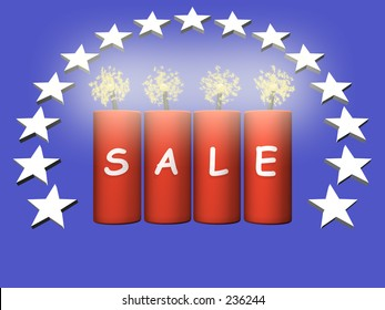 four fireworks with 3d sale text and sparks and a circular star pattern over blue background