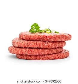 Four fresh hamburger slices on white isolated