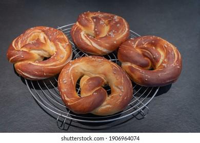Four freshly baked bavarian Pretzels
