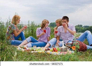 Four friends having fun at the picnic