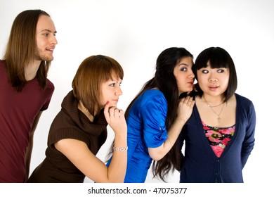 Four friends studio shot