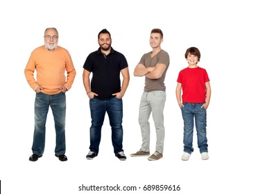 Four generations of men isolated on a white background