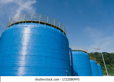 Four giant blue tubes in a reservoir in Wonogiri, Central Java