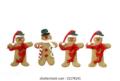 four gingerbread men, three santas, one snowman