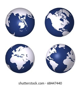 Four globes showing earth
