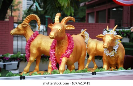 Four goats symbolic of prosperity and progress decorated a buddhish procession vehicles parked outside Maha Vihara buddhish temple, Kuala Lumpur Malaysia, on wesak day.
