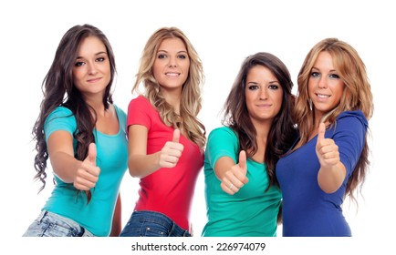 Four good friends saying Ok isolated on a white background