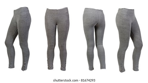 four gray striped leggings collage isolated on a white background. Image composed of several photographs.