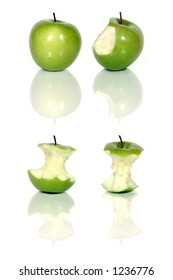 four green apples and apple cores over white (see similar in my portfolio)