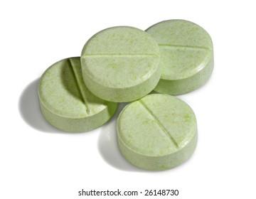 Four green medicine pills, from my medical pills series