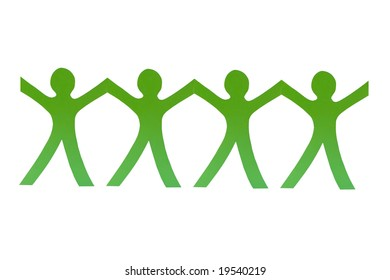 Four green paper men on white background