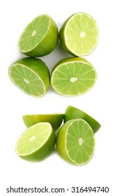 Four halves of a green lime fruit isolated over the white background, set of different foreshortenings