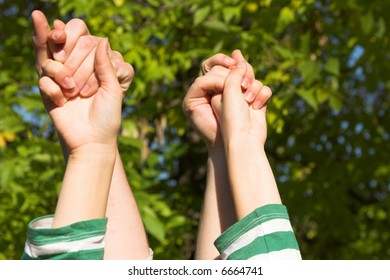 Four hands in the forest