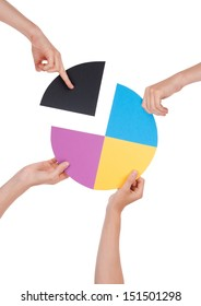 Four Hands Holding a Chromatic Circle, Isolated
