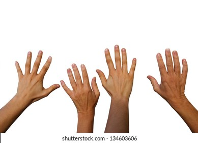 four hands waving, hands from the back side, isolated