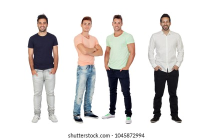 Four handsome full men isolated on a white backgroung
