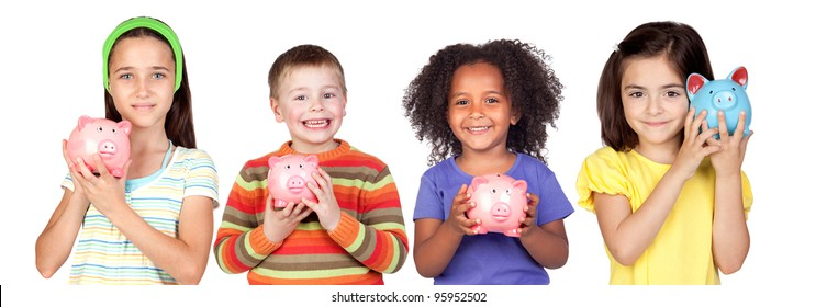 Four happy children with moneybox savings isolated over white