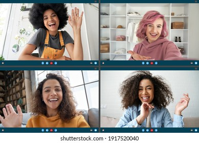 Four happy multicultural diverse friends young women talking in online virtual zoom chat video call in group conference social distance chat virtual meeting. Computer videocall app montage screen view