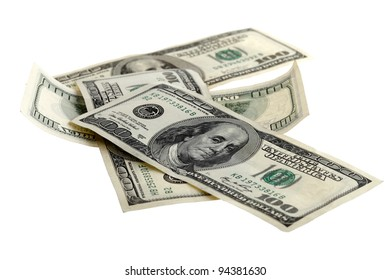 Four hundred dollar bills placed on a white background