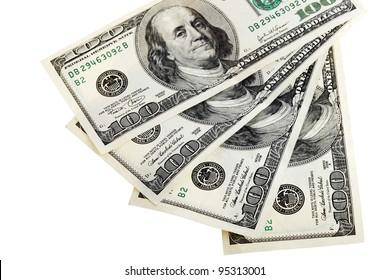 Four hundred dollars arranged on a white background