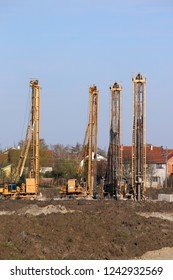 four hydraulic drilling machines on construction site industry